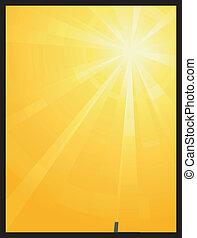 sole, asimmetrico, scoppio, luce, giallo, arancia