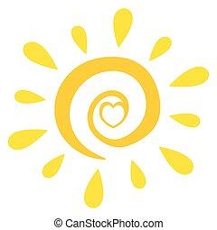 sole, astratto, cuore