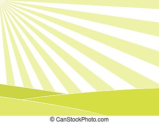 sole, astratto, raggi, fondo, campo
