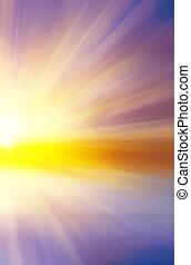 sole, astratto, tramonto, rays., colorito
