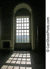 sole, attraverso, arched, windows, in, castello stirling,...