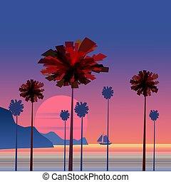 sole, barca vela, colorare, scena, paesaggio, salita, mare, alba, blu, palme, tropicale, barca, montagne, costa, fondo, minimalistic, roccioso, illustration., navigazione, sky., marina, oceano, spiaggia, vettore, o, sunset.