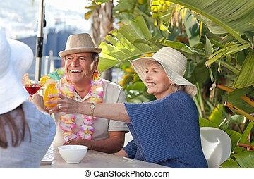 sole, bere, amici, insieme, sotto