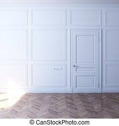 sole, bianco, porta, stanza, nuovo
