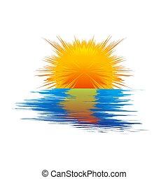 sole, blu, mare, waves., vettore, illustrazione