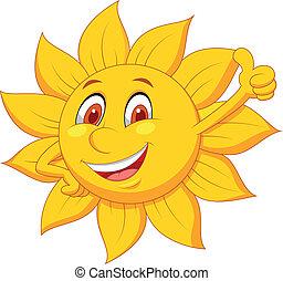 sole, cartone animato, carattere, pollice