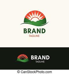 sole, collina, logotipo