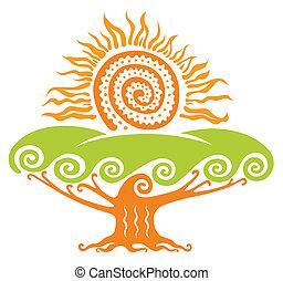 sole, con, albero