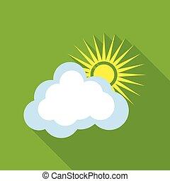 sole, con, nuvola, icona, appartamento, stile