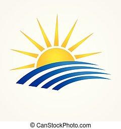 sole, con, spiaggia, swooshes, logotipo