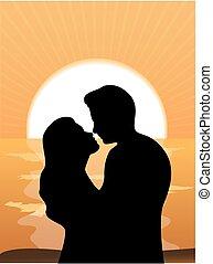 sole, coppia, silhouette, amare
