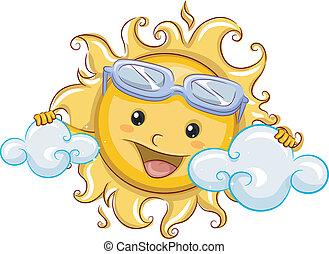 sole, dietro, nubi, bastonatura