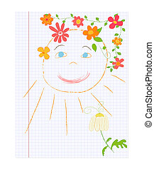 sole, disegno, infantile