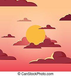 sole, disegno, paesaggio