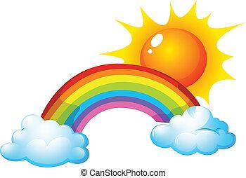sole, e, arcobaleno