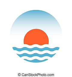 sole, e, il, sea., vettore, logotipo, illustrazione