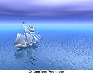 sole, e, mare aperto, con, americano, goletta