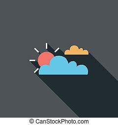 sole, e, nuvola, appartamento, icona, con, lungo, uggia