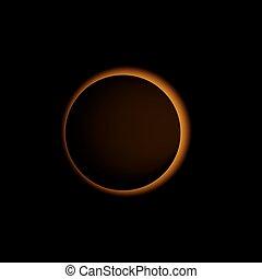 sole, eclissi, solare, vettore, realistico