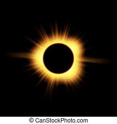sole, eclissi, su, black.