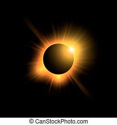 sole, eclissi, su, nero, sky.