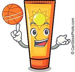 sole, forma, pallacanestro, crema, mascotte