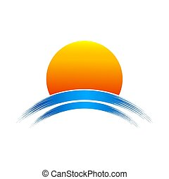 sole giallo, icon., vettore, illustrazione