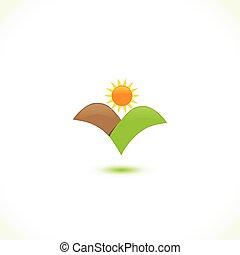 sole, icona, montagne, logotipo