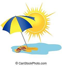 sole, illustrazione, vettore, paradiso, spiaggia, cartone animato