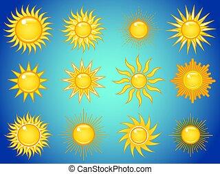 sole, in, il, cielo, icone, set