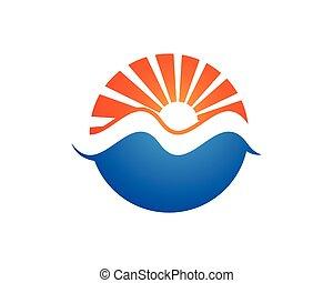 sole, logotipo, icona, vettore