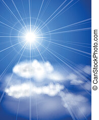 sole luminoso, in, blu, sky.