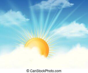 sole luminoso, in, cielo blu