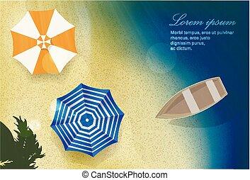 sole, mare, spiaggia sabbia, con, barca, e, ombrelli