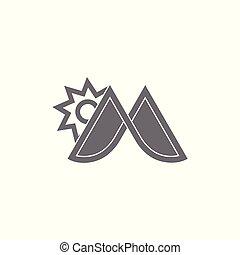 sole, montagna, m, vettore, logotipo, lettera