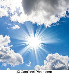 sole, nubi, bello, azzurro cielo