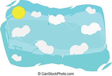sole, nubi, fondo, cielo