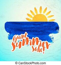 sole, oceano onda, illlustration