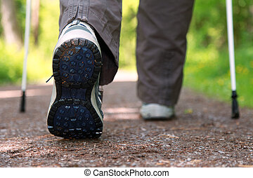 Nordic Walking - Sole of a hiking shoe during a Nordic...