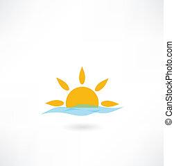 sole, onda, mare, icona