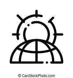 sole, pianeta, vettore, magro, problema, linea, warming, icona