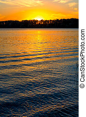 sole, regolazione, lago, increspature
