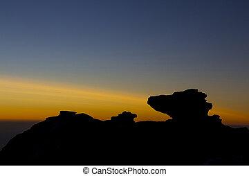 sole, regolazione, silhouette, contro, roccia
