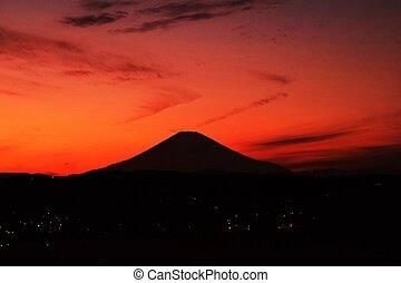 sole, regolazione, silhouette, mt.fuji
