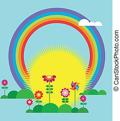 sole, salita, arcobaleno