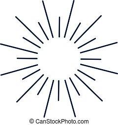 sole, scoppio, linee, monocromatico, vendemmia, illustration...