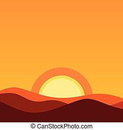 sole sera, illustrazione, cartone animato, colori, vettore, horizon., fondo, arancia, disertare paesaggio, sunset.