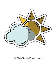 sole, simbolo, tempo, cartone animato, nuvola