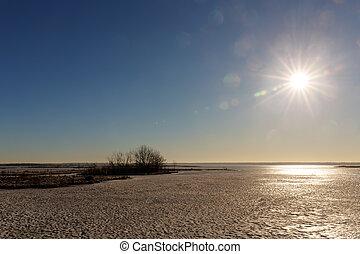 sole, sopra, lago