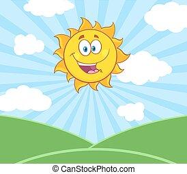 sole, sopra, sole, paesaggio, felice